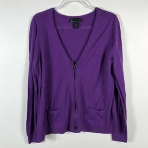 Lane Bryant Size 14 16 Purple Zip Front Sweater